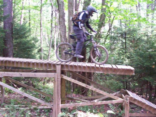 Tim VanDerKamp biking in Snowshoe.